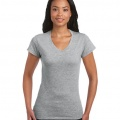 64V00L Womens Basic V-Neck T-shirt - Sport Grey