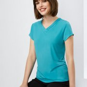K819LS Womens Lana Short Sleeve Turquoise Tee - Worn