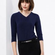 K819LT Womens Lana 3/4 Sleeve Navy Tee - Worn