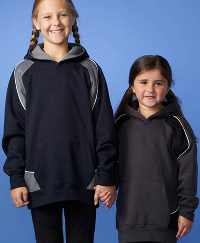 3509 Kids Huxley Contrast Hoodie - Navy/Ashe and Slate/Black on Child Models