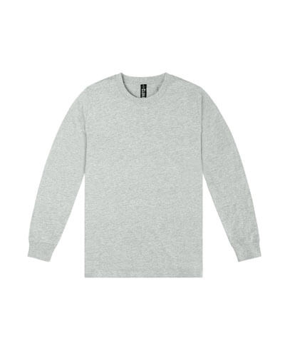 T403 Mens Long Sleeve Loafer Tee - Grey Marle