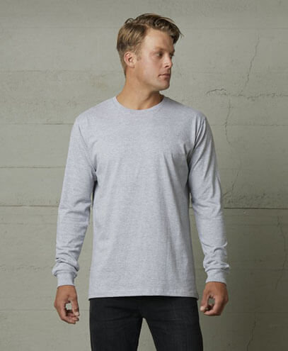 T403 Mens Long Sleeve Loafer Tee - Grey Marle on Male Model