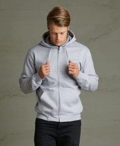 TMZ Mens 360 Zip Hoodie - Grey Marle on Male Model