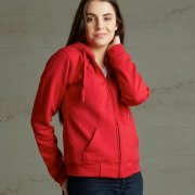TWZ Womens 360 Zip Hoodie - Red on Female Model
