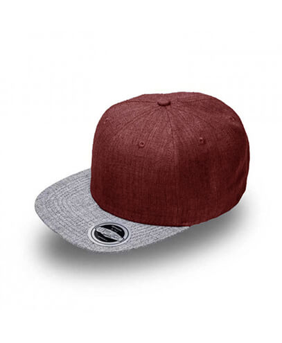 U15606 U Flex Snap Back Flat Peak Cap - Burgundy / Grey