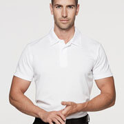 1307 Mens Botany Polo - White on Male Model