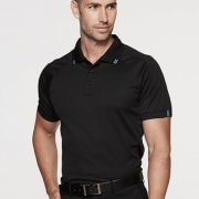 1308 Mens Flinders Polo - Black/White on Male Model