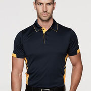 1311 Mens Tasman Polo - Black/Gold on Male Model
