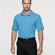 1315 Mens Claremont Polo - Cyan on Male Model