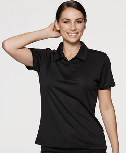 2307 Womens Botany Polo - Black on Female Model