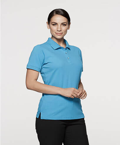 2315 Womens Claremont Polo - Cyan on Female Model