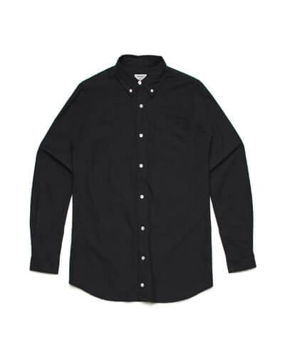5401 Mens Oxford Long Sleeve Shirt - Black