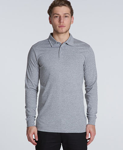 5404 Mens Chad Longsleeve Polo - Grey Marle on Male Model