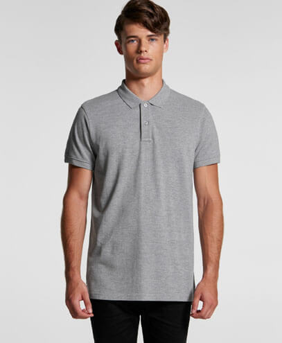 5411 Mens Pique Polo - Grey Marle on Male Model