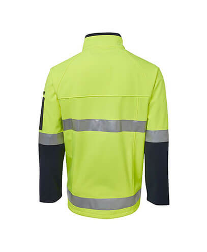 6D4LJ Adults Hi Viz Softshell Jacket - Back