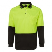 6HVPL Adults Hi Viz Long Sleeve Polo - Front