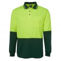 6HVPL Adults Hi Viz Long Sleeve Polo - Lime / Forest