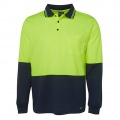 6HVPL Adults Hi Viz Long Sleeve Polo - Lime / Navy