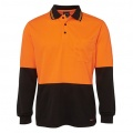 6HVPL Adults Hi Viz Long Sleeve Polo - Orange / Black
