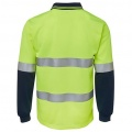 6HVSL Adults Hi Viz D+N Long Sleeve Polo - Back