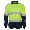 6HVSL Adults Hi Viz D+N Long Sleeve Polo - Front