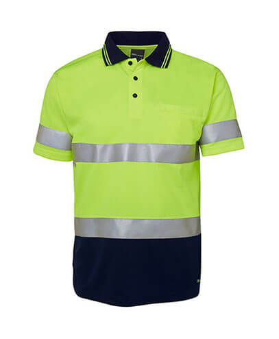 6HVST Adults Hi Viz D+N Short Sleeve Polo - Front
