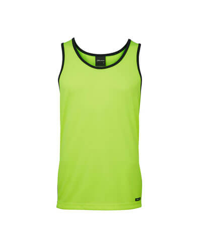 6HCS4 Adults Hi Viz Contrast Singlet - Yellow/Navy