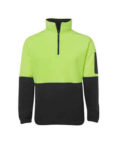 6HVPF Adults Hi Viz 1/2 Zip Polar Fleece - Lime/Black