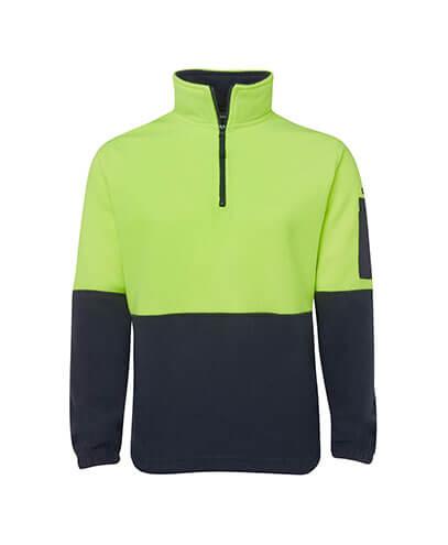 6HVPF Adults Hi Viz 1/2 Zip Polar Fleece - Lime/Navy