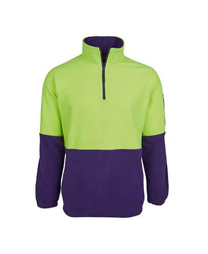 6HVPF Adults Hi Viz 1/2 Zip Polar Fleece - Lime/Purple