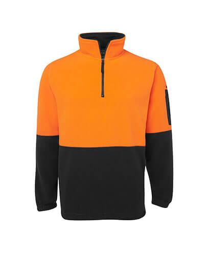 6HVPF Adults Hi Viz 1/2 Zip Polar Fleece - Orange/Black