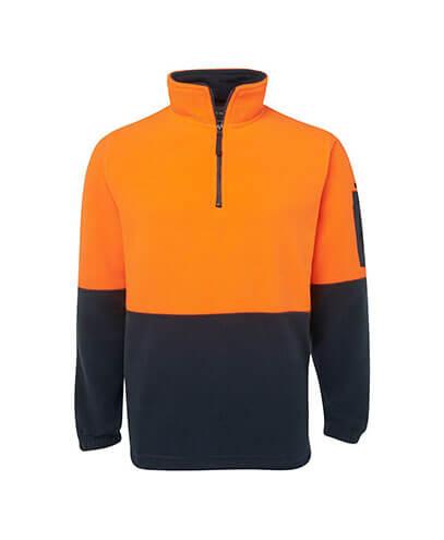 6HVPF Adults Hi Viz 1/2 Zip Polar Fleece - Orange/Navy