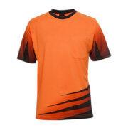 6HVRT Adults Hi Vis Rippa Sub Tee - Orange/Navy