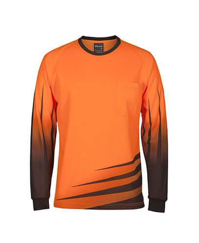 6HVRX Adults Hi Viz Long Sleeve Rippa Sub Tee - Orange/Navy