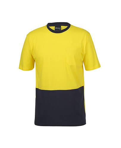 6HVTC Adults Hi Viz Cotton Tee - Yellow/Navy
