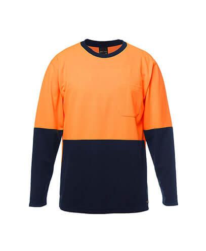 6HVTL Adults Hi Viz Long Sleeve Tee - Orange/Navy