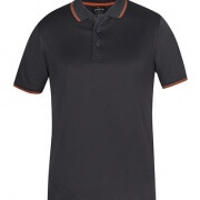 7JCP Mens Jacquard Contrast Polo - Charcoal / Orange