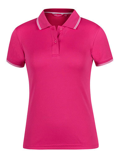 7JCP1 Ladies Jacquard Contrast Polo