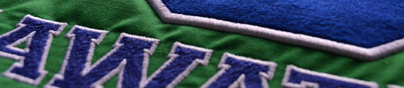 Example of Felt and Twill Applique, showing a blue felt number and blue twill embroidered letters, both edged in white stitching, on green fabric.