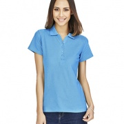 P400LS Womens Crew Polo - Cyan on Female Model