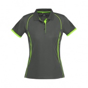 P405LS Womens Razor Quick Dry Polo - Grey / Fluro Lime