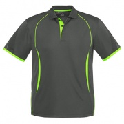 P405MS Mens Razor Quick Dry Polo - Grey / Fluro Lime