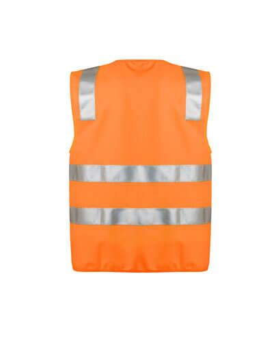 ZV998 Adults Hi Vis Full Zip Vest - Orange Back