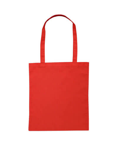 B109 Long Handled Calico Bag - Red