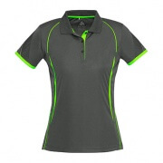 P405LS Ladies Razor Polo - Grey/Lime Green