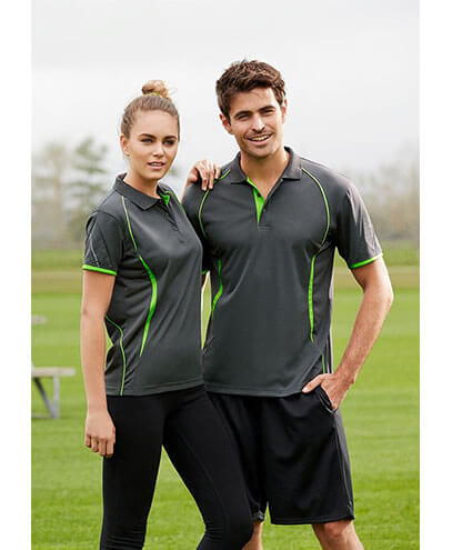 P405MS P405LS Men's and Women's Razor Quick Dry Polo Shirts - Grey/Lime Green on Male and Female Models