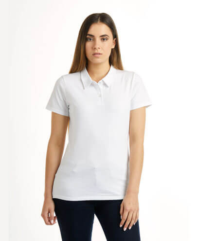 P425 Womens Element Polo - White on Female Model