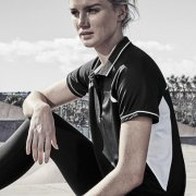 P700LS Womens Renegade Quick Dry Polo - Black/White on Female Model