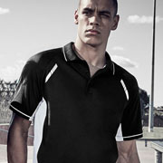 P700MS Mens Renegade Quick Dry Polo - Black/White on Male Model