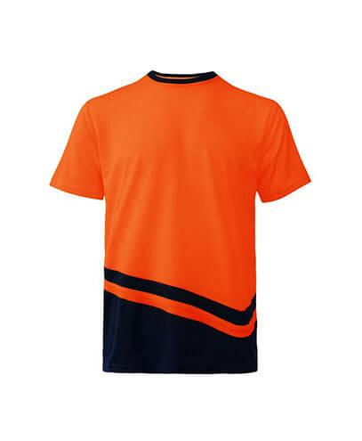 R464X Adults Peak Performance Hi Vis T-Shirt - Orange/Navy